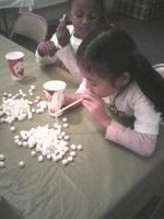 Marshmallow Sensory Fun:  Squishy, Softy, Suck in through a straw, Hold, Drop into a cup. Times Up ~ Most in Cup Wins.