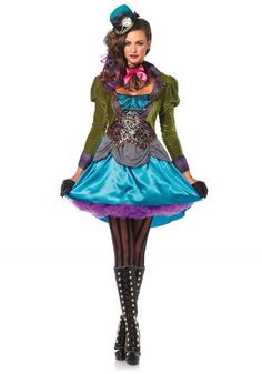 Our Steampunk Mad Hatter Halloween costume from Leg Avenue showcases an updated look on classic Mad Hatter character from Alice in Wonderland: high/low velvet and satin coat dress with hounds-tooth skirt layer and brocade panel details, a lace ruffle neck piece, and a mini clock top hat. loves and pantyhose are sold separately. Length of size Small as measured from the shoulder is 32 inches at the front and 41 inches at the back.