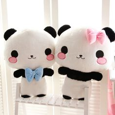 bow and bowtie girl and boy panda plush kawaii