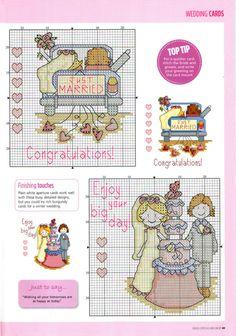 Just married cross stitch Wedding Cross Stitch, Cross Stitch Heart, Cross Stitch Cards, Cross Stitching, Cross Stitch Embroidery, Cross Stitch Designs, Cross Stitch Patterns, Wedding Cards, Needlework