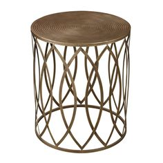 136 Add simple style to any space with the Sutton Gold Leaf Accent Table. This accent table features a antique champagne finished base with a unique lattice design that is sure to look great anywhere.