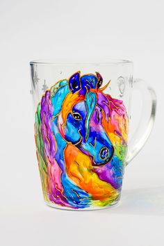 Horse Mug Watercolor Mug Gift for her Coffee Mug by Vitraaze
