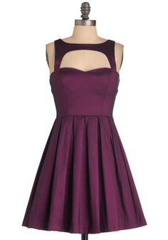 Last Slow Dance Dress in Purple - Formal, Prom, Party, Purple, Solid, Cutout, Vintage Inspired, 50s, A-line, Short