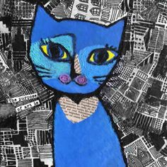blue cat decoupage 中尾道也 Cat Paintings, Space Cat, Blue Cats, My Works, Decoupage, Fictional Characters, Art, Art Background, Kunst