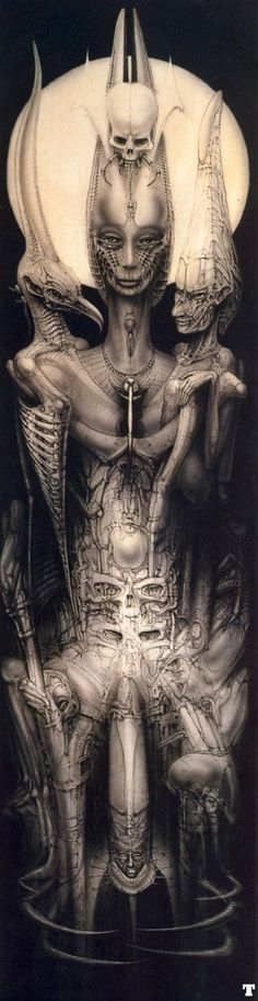 H.R. Giger creates some of the most incredible, disturbing, and hauntingly beautiful pieces ive ever seen.