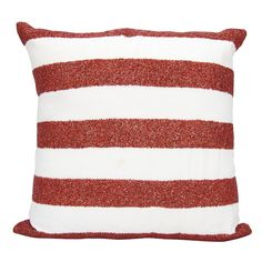 "Nourison Mina Victory Luminecence Flag Stripes Red/White Throw Pillow (20"" x 20"") (Red/White, 20"" x 20""), Size 20 x 20"