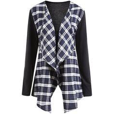 Collarless Plus Size Plaid Panel Waterfall Jacket ($15) ❤ liked on Polyvore featuring outerwear, jackets, rosegal, collarless jacket, tartan jacket, women's plus size jackets, panel jacket and plaid jacket