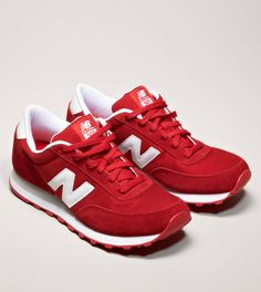 Red sneakers | How perfectly Nebraska Huskers are these red and white New Balance sneakers from #AmericanEagleOutfitters