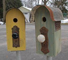 $89 Antique porcelin door knob birdhouses.  via Etsy.