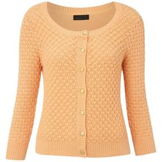 Vero Moda 3/4 sleeve round neck mesh knit cardigan ($21) ❤ liked on Polyvore