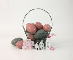 East of India Hand Painted Pink and Grey Eggs (Codes 50 and 52)