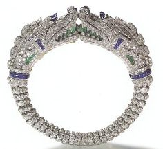 CARTIER Diamond, Sapphire, Emerald, Rock Crystal, and Platinum Bracelet, 1929