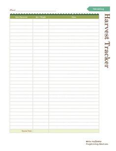 Print This Free Garden Planner: Garden Harvest Tracker Printable