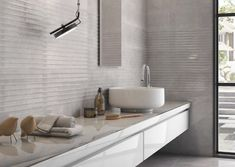 Add interested to a sleek interior with modern effect tiles from Minoli. Minoli Quantum Smoke ceramic wall tiles provide a luxury feature for bathroom walls. Polished Concrete Tiles, Concrete Bathroom, Bathroom Countertops, 3d Wall Tiles, Room Tiles, Ceramic Wall Tiles, New Bathroom Ideas, Best Bathroom Designs, Bathroom Design Small