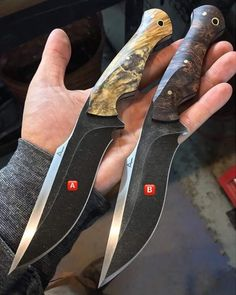 Don't approve of guards on knives (snag blade;break fingers,wrist,et al), but this one seems different. Cool Knives, Knives And Tools, Knives And Swords, Beil, Dagger Knife, Survival Knife, Survival Tools, Knife Handles, Handmade Knives