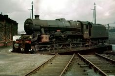 """45632 """"Tonga"""" LMSR Jubilee 4-6-0  on the turntable at 9B Stockport Edgeley. Photo by Alastair Wood"""