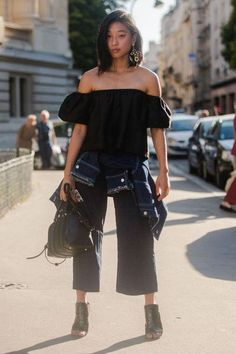 So loving Margaret Zhang's off-the-shoulder black top and cropped trousers. Click for more of her best style moments!