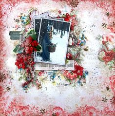 Scraps of Elegance scrapbook kits: Mixed media Christmas layout created w/our Nov 2016 kit, by Anna Rogalska