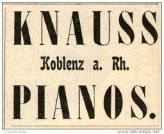 Original-Werbung/ Anzeige 1901 - KNAUSS PIANOS KOBLENZ - ca. 50 x 40 mm