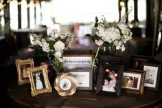 Sweet heritage display in the barn! We love it when couples share the love of their families! #cedarwoodweddings Dream Destination Wedding :: Courtney+Jason, Part 1 | Cedarwood Weddings