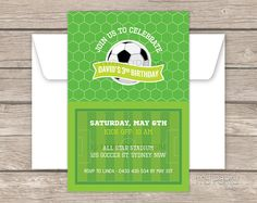 Soccer Party Invitation - Football Party - Sports Party - PRINTABLE JPEG or PDF file