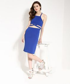 Yepme Annabel Cut-Out Bodycon Dress - Blue