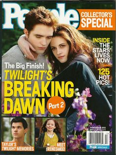 If you're into collecting #Twilight merchandise, People Magazine currently has on newsstands their Twilight: Breaking Dawn Part 2 magazine out now.    The Special is to be displayed until November 2, 2012.  It sells for $5.99, but if you like to read People Magazine in general, the current regular magazine (November 5, 2012 with Justin Timberlake and Jessica Biel – now the Timberlakes – on the cover) has a 1 dollar off the Twilight edition coupon.    Happy reading!