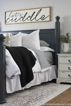 Charcoal and White Master Bedroom Reveal – Start at Home Decor My Master bedroom reveal is live! I used charcoals and whites to lighten this space up and bring it to life. Room Decor For Teen Girls, Farmhouse Master Bedroom, Home Decor Bedroom, Bedroom Ideas, Bed Ideas, Bedroom Designs, Decor Ideas, Bedding Master Bedroom, Modern Bedroom