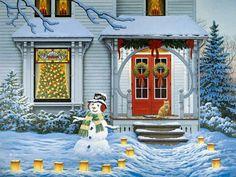 Gatti di Natale e gatti pittura di Capodanno. John Sloane.