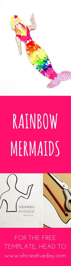 Are mermaids all the rage at your place right now? Grab your free printable to make your own rainbow mermaid out of cardboard and salad spinner art. - Salad Spinner - Ideas of Salad Spinner Fun Diy Crafts, Arts And Crafts Projects, Projects For Kids, Crafts For Kids, Preschool Crafts, Creative Activities For Kids, Kids Learning Activities, Motor Activities, Mermaid Crafts