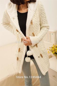 Thick Warm hooded Women Seater Coat | Double-breasted Knitted long ...