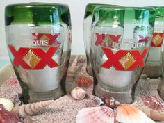 8 Beer Glasses Dos Equis XX Drinkware Beer by RetroHomeComforts