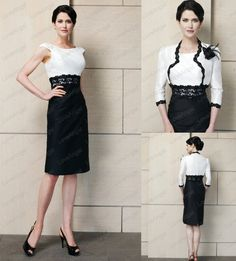 Free Shipping Scoop Three Quarter Sleeves Knee Length Black and White Mother of the Groom Short Dress With Jacket Pencil Skirt on AliExpress.com. $145.00