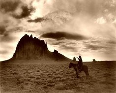 Print of NAVAJO MAN, The Dawn of the Day. A Navajo man on horseback, gesturing toward a butte in the southwestern United States. Photograph by William Carpenter, Sioux, Shiprock New Mexico, Framed Art Prints, Poster Prints, Navajo Culture, Navajo People, Horse Posters, Native American Indians, Native Americans