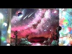 how to spray paint milky way galaxy, waterfall, trees jungle cavern, flourescent colors, mountains l - YouTube