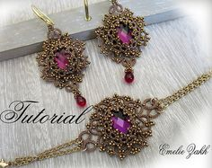 Frivolite lace jewelry.PDF Tatting Pattern Lina set earrings and bracelet frivolite pattern tatting instruction tatting with beads earrings