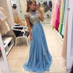 Elegant Cap Sleeve Light Blue Evening Dresses Formal Prom Dress Party Gowns 4-16