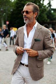 spring-summer dressed-up casual look  linen coat, crisp white shirt chinos  · Уличная МодаМужские ... 7858ec4b7d7