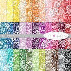 Digital Scrapbook Paper Pack  --  Rainbow Paisley A -- INSTANT DOWNLOAD
