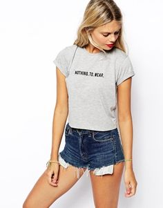 ASOS Crop Top with Nothing to Wear Embroidery Print $30.96