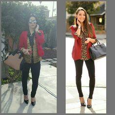 Outfit inspiration. #lookalike #redbkazer #blackpants #leopard #crystaljimenez
