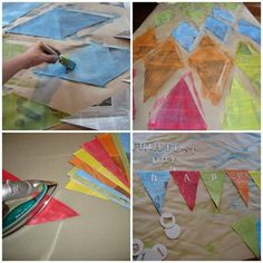 this blogger had a couple good tips: cut the paper in diamond shapes that can later be draped over the twine to hang. also, hang the twine first, then the flags -- that way it's easier to arrange for the aesthetic you're going for.