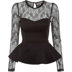 Kelly Brook Black Lace Peplum Top (24 AUD) ❤ liked on Polyvore featuring tops, lace, black, peplum, color block tops, lace top, lace sweetheart top, long length tops and peplum tops