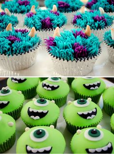 Cupcakes Monster Inc. Cupcakes,Monster Inc. Cupcakes, ideas for cookies monster cupcakes baking Poop Emoji Cupcakes Deco Cupcake, Cupcake Wars, Cupcake Cookies, Cookie Monster Cupcakes, Cupcakes Design, Monster Inc Party, Monster Birthday Parties, Monster Inc Cakes, Birthday Ideas