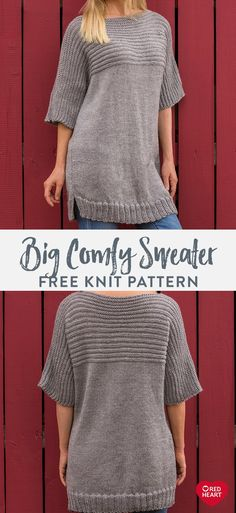 Big Comfy Sweater free knit pattern in Red Heart Fashion Soft yarn. This lighter weight ve. Jumper Knitting Pattern, Easy Knitting, Loom Knitting, Knitting Stitches, Knitting Patterns Free, Knit Patterns, Free Pattern, Big Comfy Sweaters, Beginners Knitting Kit