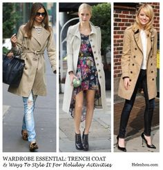 Miranda Kerr, Poppy Delevingne ,Emma Stone, holiday outfit ideas, holiday activities,classic trench coat,how to wear trench coat, striped te...