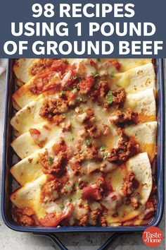 98 Recipes Using 1 Pound Of Ground Beef Spice it up and try one of our versatile recipes tonight. - 98 Recipes Using 1 Pound Of Ground Beef Ground Beef Dishes, Ground Beef Recipes For Dinner, Dinner With Ground Beef, Easy Dinner Recipes, Great Recipes, Recipes With 1lb Ground Beef, Ground Beef Meals, Recepies With Ground Beef, Ground Chuck Recipes Dinners