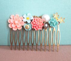 Coral Turquoise Wedding Hair Comb Bridal Bridesmaid by Jewelsalem