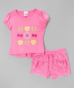 Loving this Pink Butterfly Tee & Lace Shorts - Toddler on #zulily! #zulilyfinds