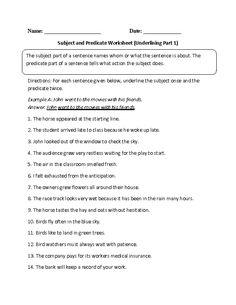 Identifying subject and predicate worksheet | Teaching Resources ...